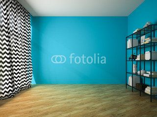 Empty room with blue wall and glass rack 3D rendering