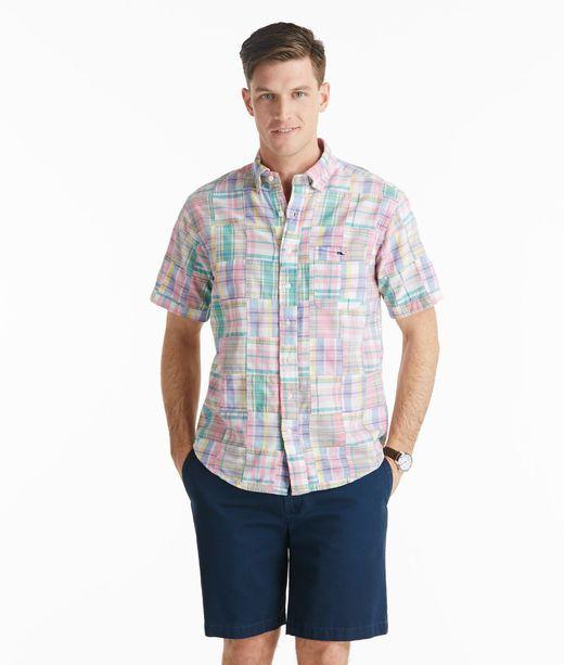 Vineyard Vines Short-Sleeve Hamilton Madras Patchwork Tucker Shirt