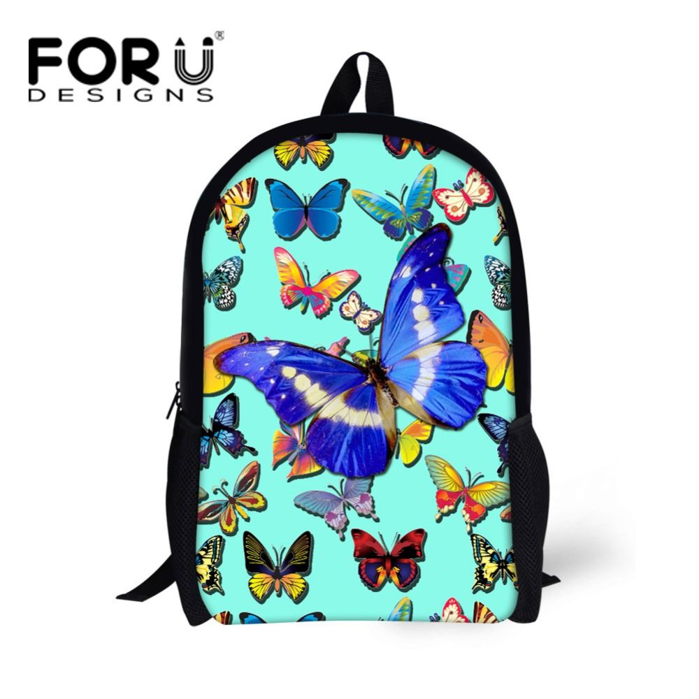 2811765b3de3 FORUDESIGNS 3D Butterfly Print School Backpacks for Children Girls Casual Kids  Rucksack High Quality Teenager Back
