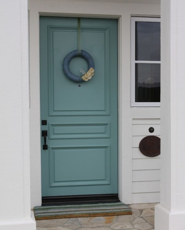 outside door. Outside door painted Sherwin Williams  Drizzle by brandi Paint