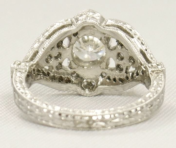 Engagement Ring -Vintage Diamond Engagement Ring 0.44 TCW in 14K White Gold-ES935BRWG