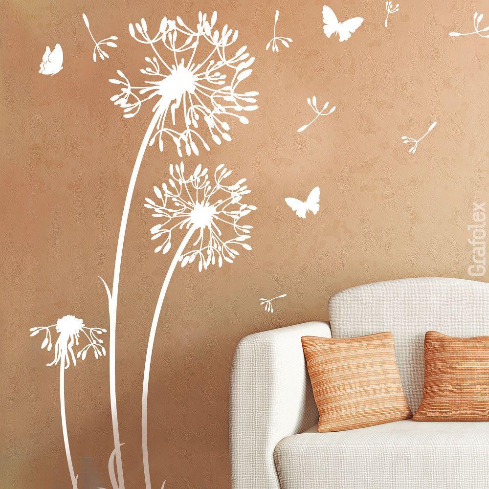 details zu wandtattoo wandsticker aufkleber pusteblume l wenzahn blume schmetterlinge w312 in. Black Bedroom Furniture Sets. Home Design Ideas