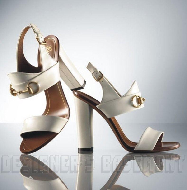 e0e6c423d98 Gucci White Patent Leather Alyssa Gold Horsebit Sandals Shoes ...
