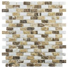 "Grizelda 0.5"" x 1.25"" Natural Stone Mosaic Tile in Sand"
