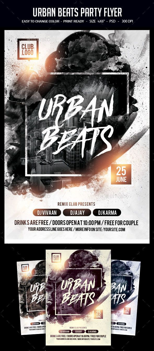 Urban Beats Party Flyer | Party flyer, Flyer template and Urban