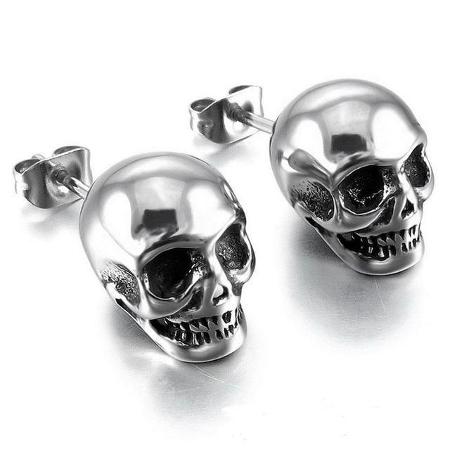 Stainless Steel Skull Stud Earrings