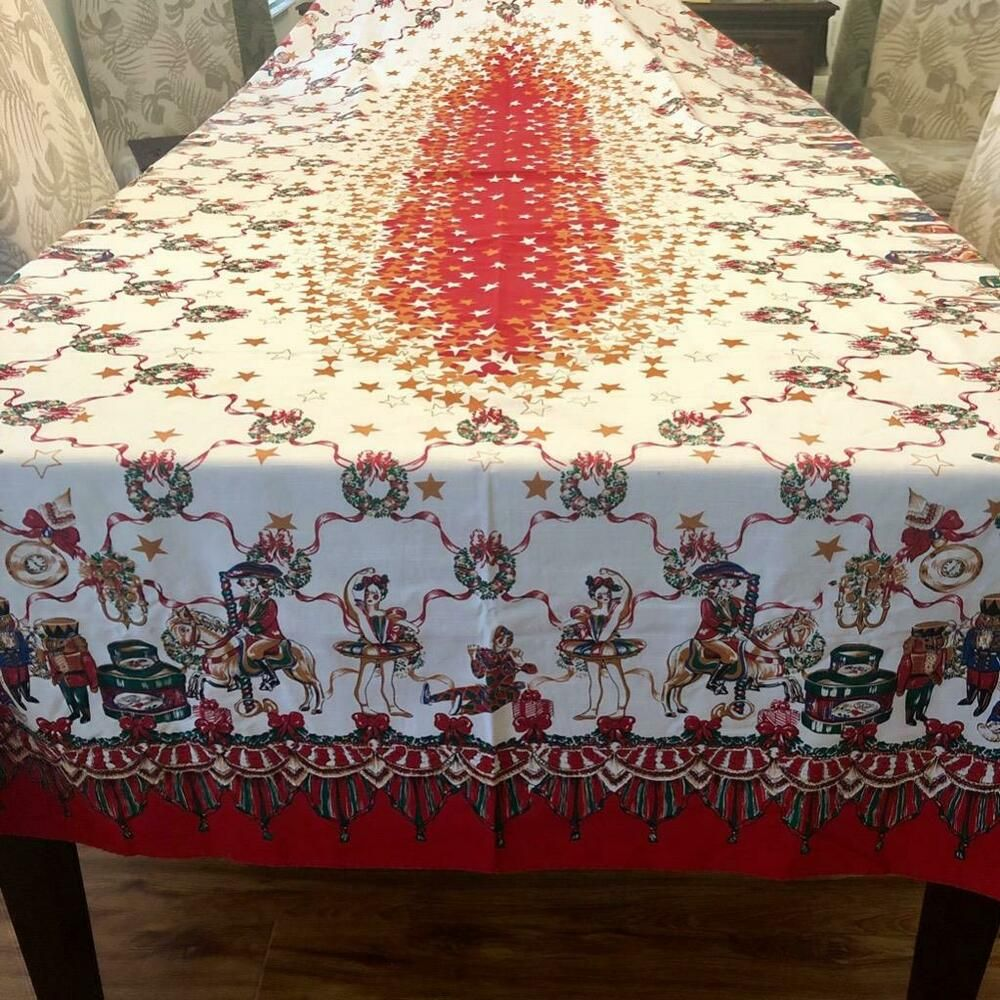 Large Christmas Tablecloth Gold Red Table Decoration Festive Xmas Flannel Backed