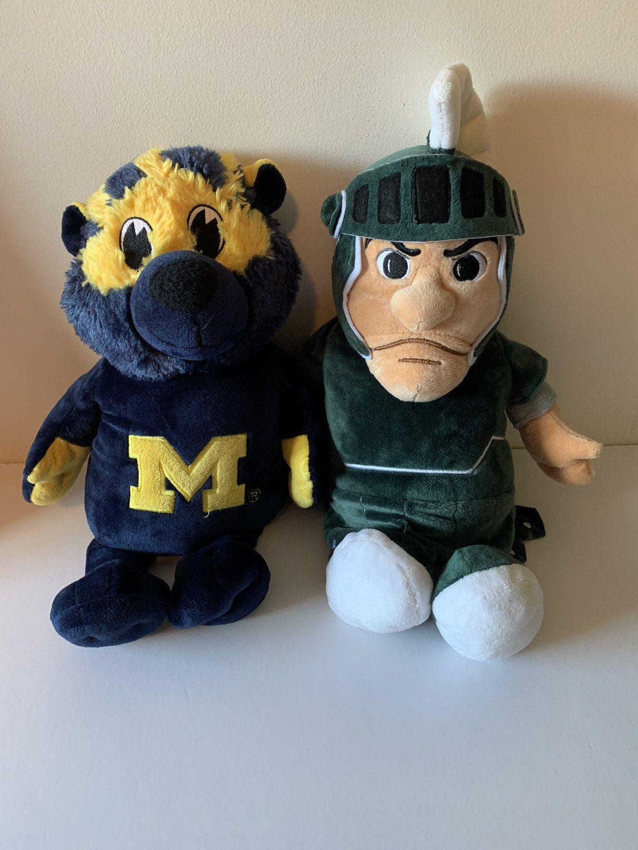Weighted stuffed animal, MI State Spartan, U of M Wolverine