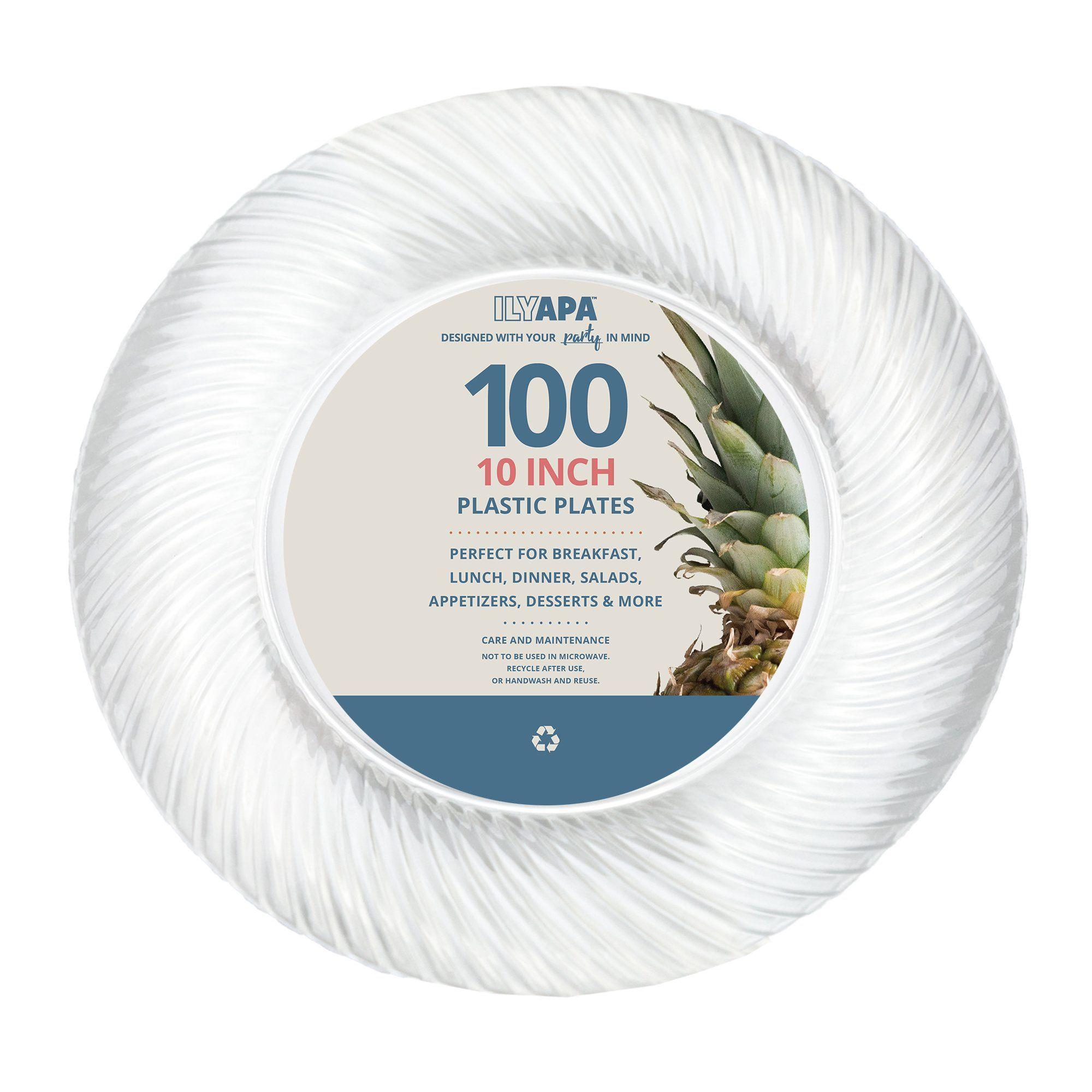 100 Premium Clear Plastic Plates For Dinner Party Or Wedding 10 Inch Fancy Disposabl Elegant Plastic Dinnerware Clear Plastic Plates Disposable Plastic Plates