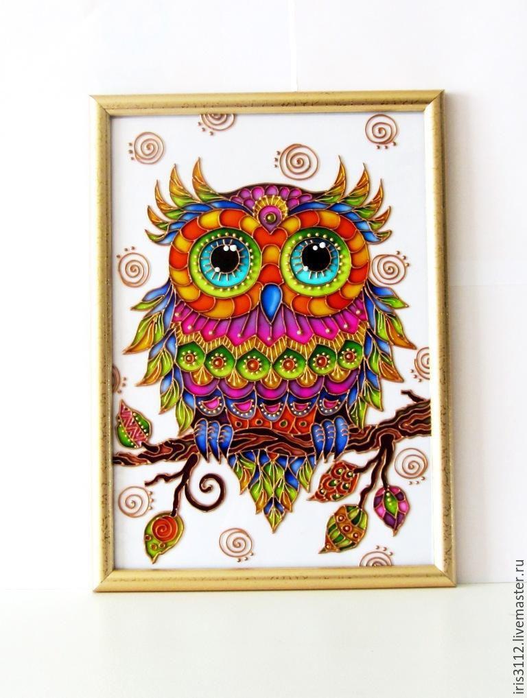Купить Совушка витражная роспись стекла - комбинированный, сова, птица…