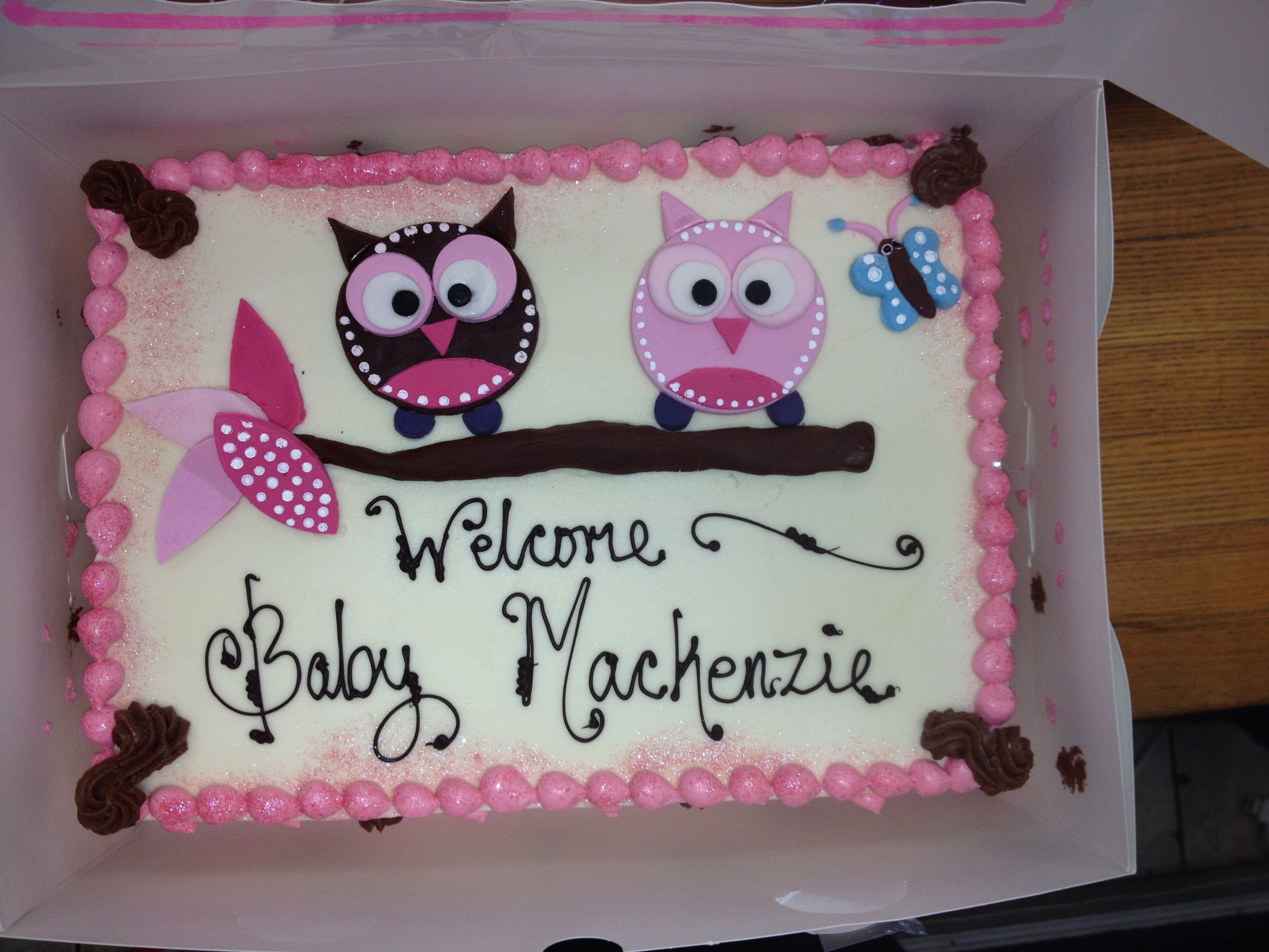 Owl Baby Shower Cake With Images Baby Shower Cakes Girl Owl