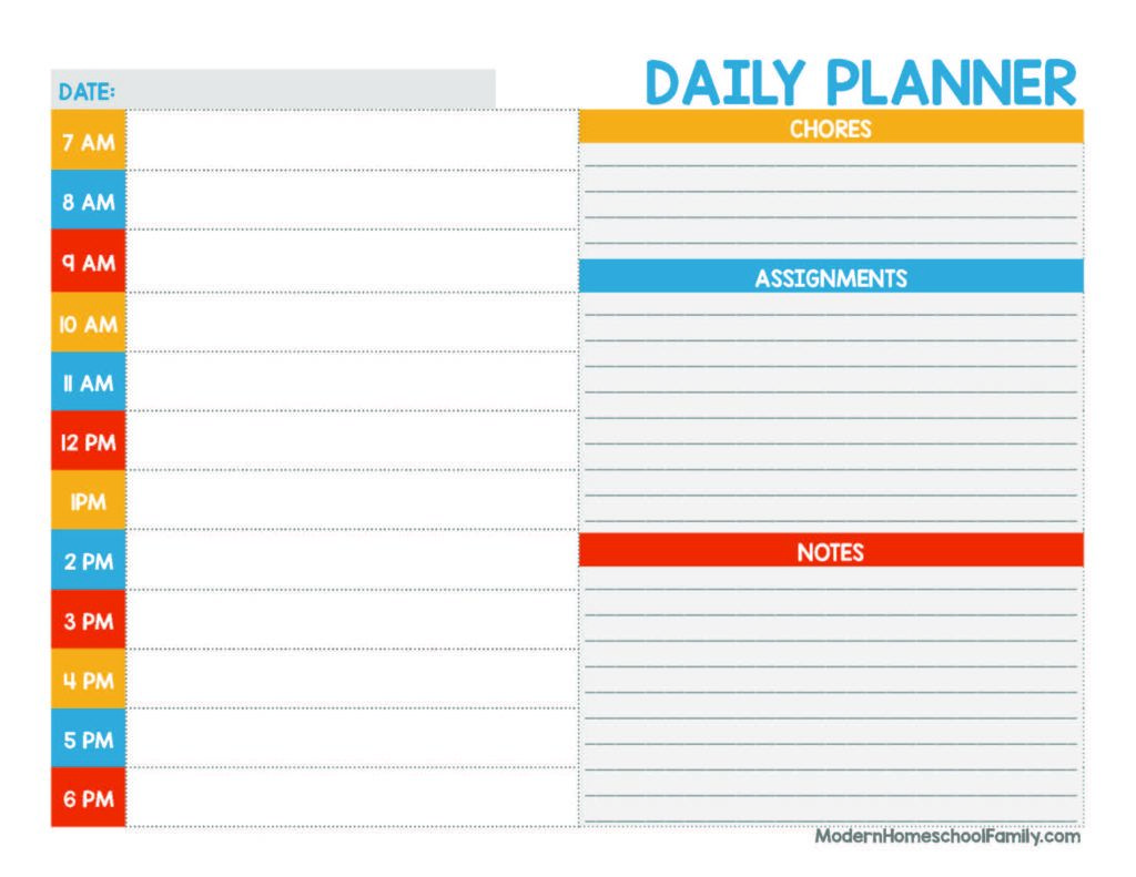 Printable Homeschool Planner Page for Kids (Primary Colors