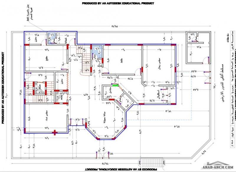 بيت العمر مخطط لأرض 620 على شارعين المخطط عبارة عن دورين وشقة بالملحق Square House Plans Model House Plan 2bhk House Plan