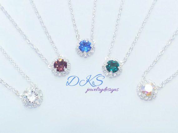 SWAROVSKI BRIDESMAID NECKLACE,bridal,bridesmaid set, 8mm, halo crystal,choose color and finish,dksjewelrydesigns