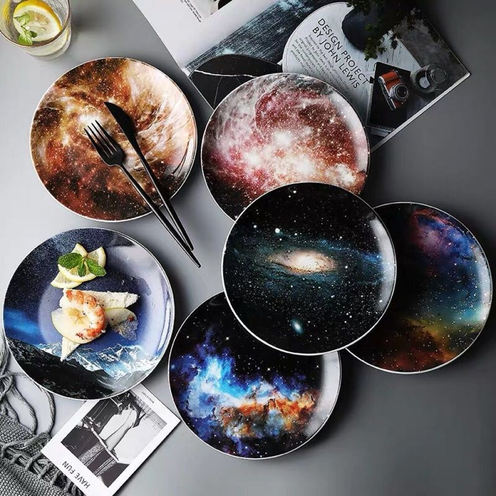 8 inch Starry Universe Landscape Plate Set High Quality Ceramic Dishes Dessert Steak Bread Dinner Plates Sets Dish Kitchen Decor#bread #ceramic #decor #dessert #dinner #dish #dishes #high #inch #kitchen #landscape #plate #plates #quality #set #sets #starry #steak #universe