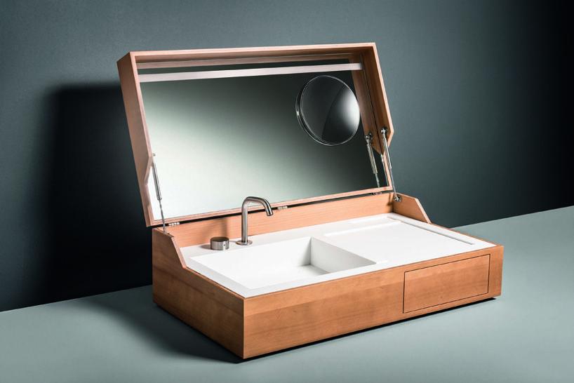Giulio Gianturco Conceals Hidden Washbasin Within Wooden Box For Makro Plan Vasque Evier Et Meuble Sous Vasque