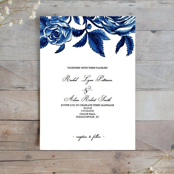 Wedding Invitation Template, Vintage Inspired Floral Wedding - vintage invitation template