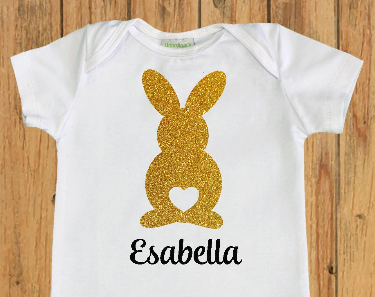 573ef3b77 Easter Bunny with heart Bodysuit, personalized easter shirt, baby girl  first easter outfit,