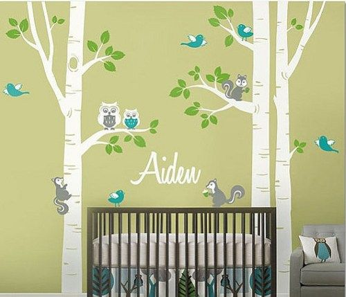 Birch Trees Vinyl Wall Decal Owl Family Wall Decals Custom Name ...