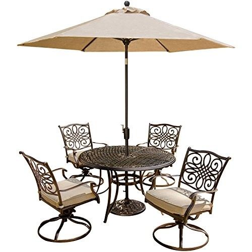 Hanover Outdoor Furniture 5 Piece Traditions Deep Cushioned Swivel Chair Dining  Set With Umbrella, Grey