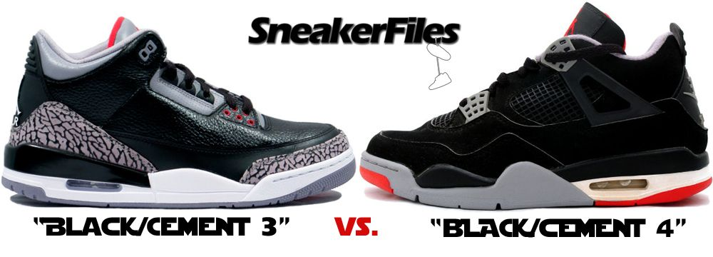Today's battle: Air Jordan 3 Black/Cement vs. Air Jordan 4 Black/