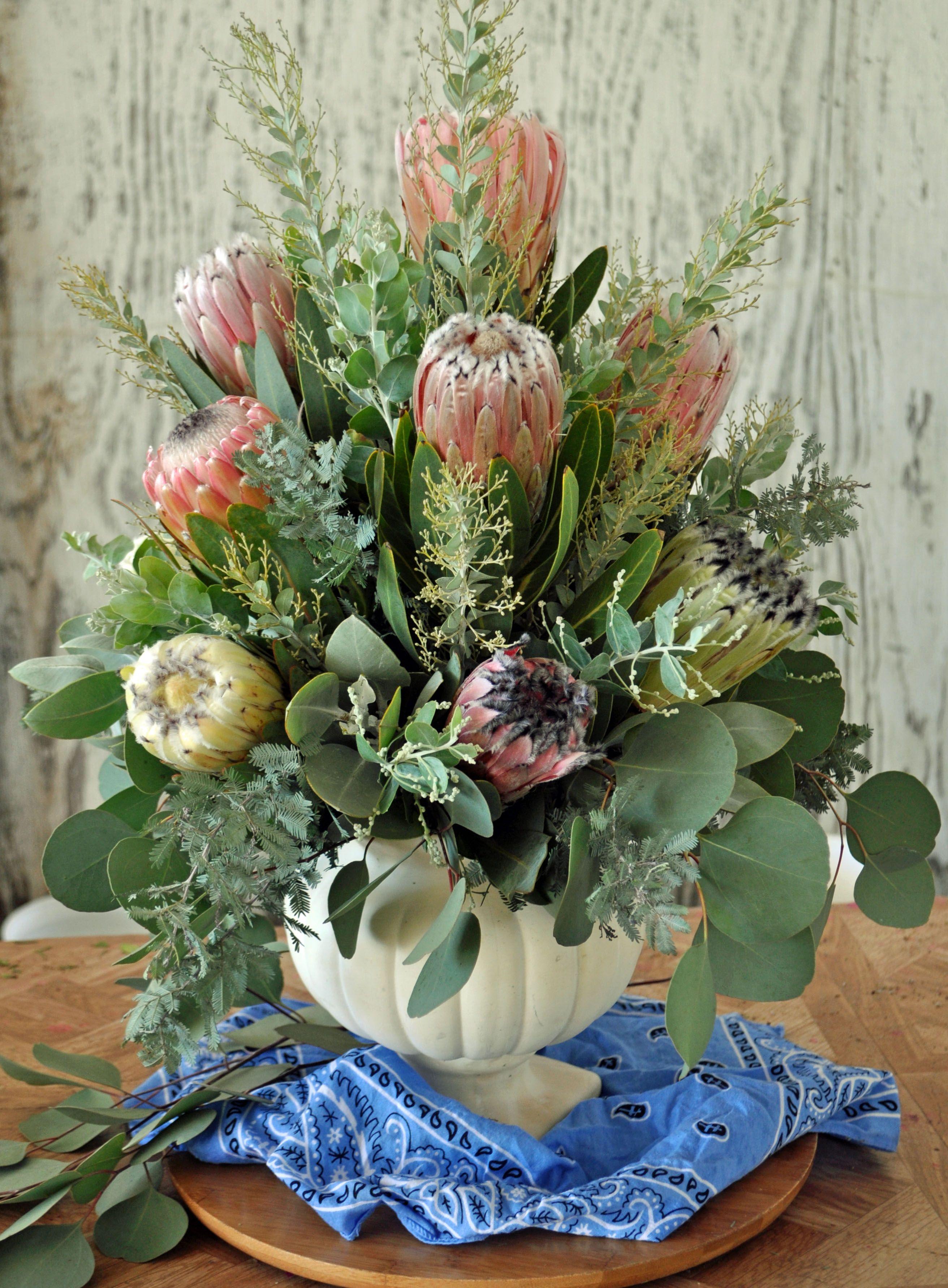 Protea Acacia And Eucalyptus Tropical Floral Arrangements Flower Vase Arrangements Fresh Flowers Arrangements