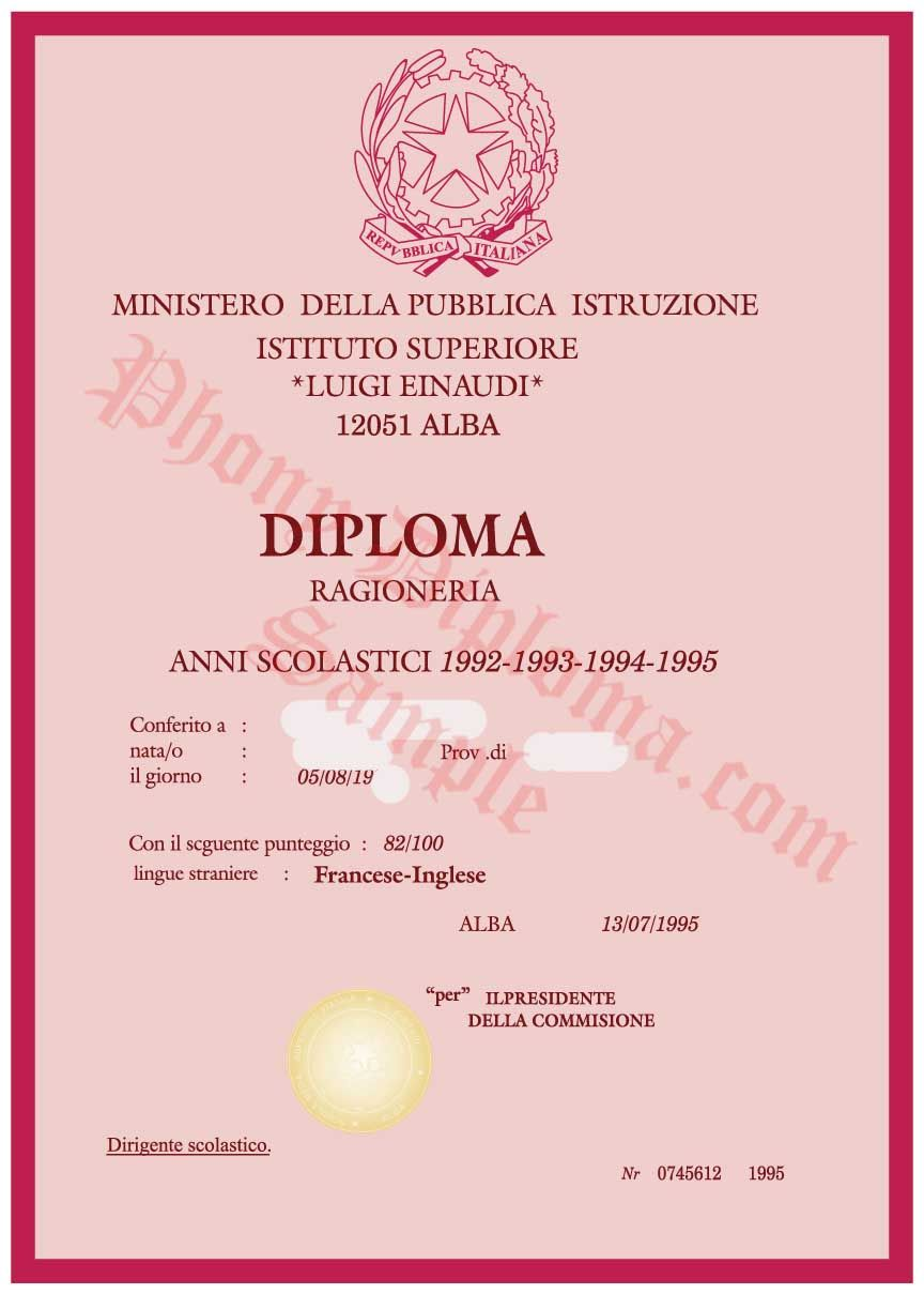 MDPI Ministero Della Pubblica Istruzione Certificate - Fake Diploma ...