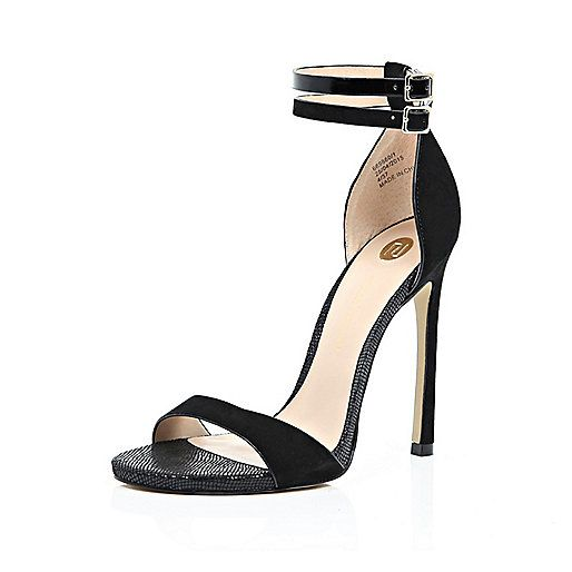 9f87d85c1433 Black double strap barely there heels £85  riverisland