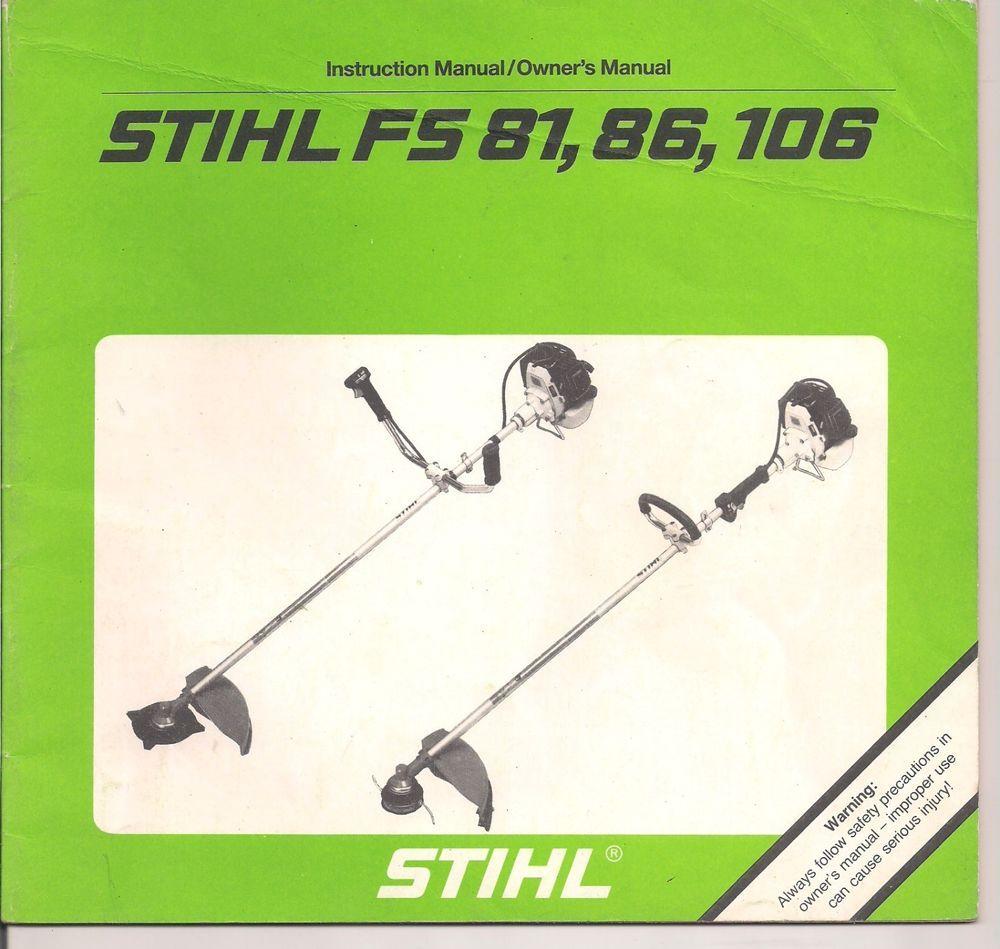Stihl FS 81 86 106 Instruction Maintenance Assembly Operation Owners Manual  #Stihl