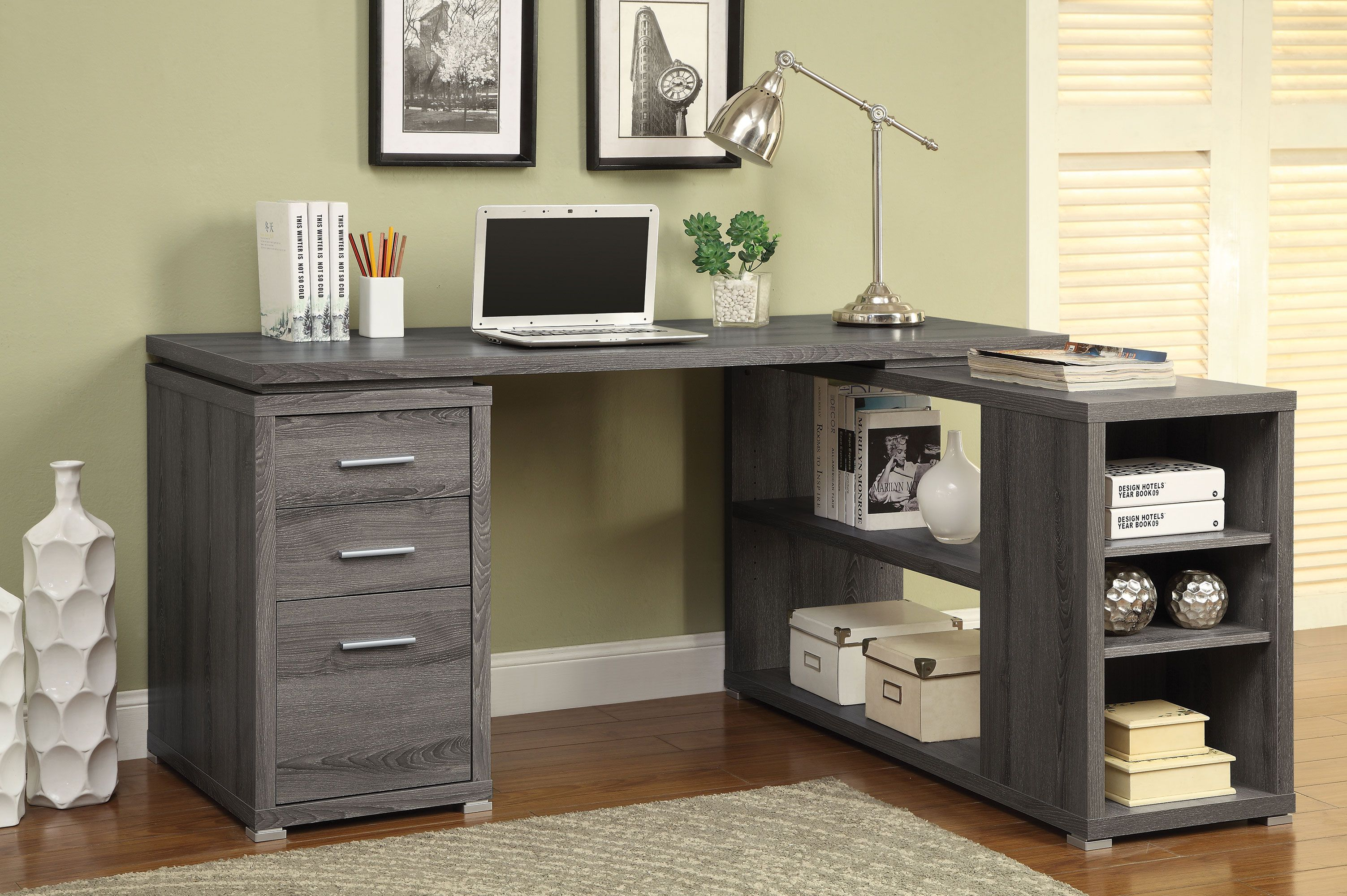 Yvette Collection 800518 L Shaped Weathered Grey Office Desk With Images L Shaped Executive Desk Wooden Office Desk L Shaped Office Desk