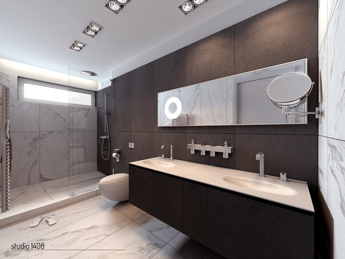 Modern Apartment Bathroom Ideas Part - 22: [Bathroom] : Sleek Modern Apartment Bathroom With Marble Tile White  Stanless Steel Sinks And Washbasin Glass Door Shower Mirror Wastafel Closet  Contemporary ...