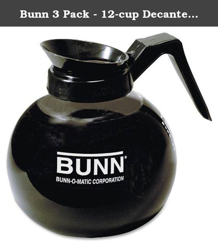 Bunn 3 pack 12cup decanter regular clearblack handle