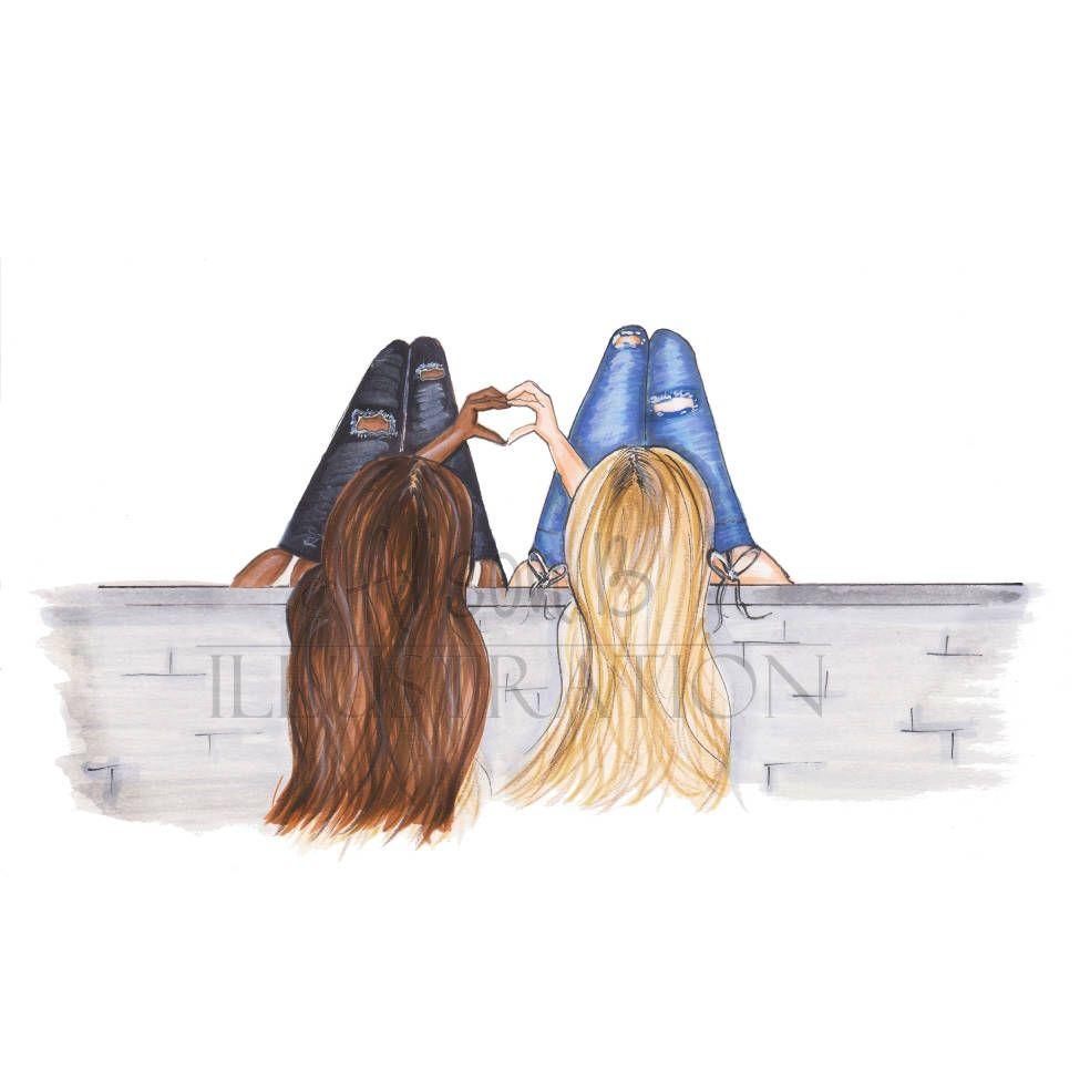 Personalized Best Friends Fashion Illustration Print, Add