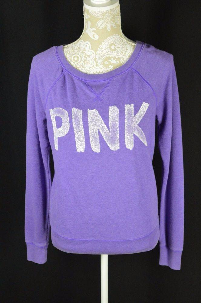 2897ccb3615 Victorias Secret PINK Womens Small Purple Long Sleeve Light Sweater Shirt   VictoriasSecret  Crewneck  Casual