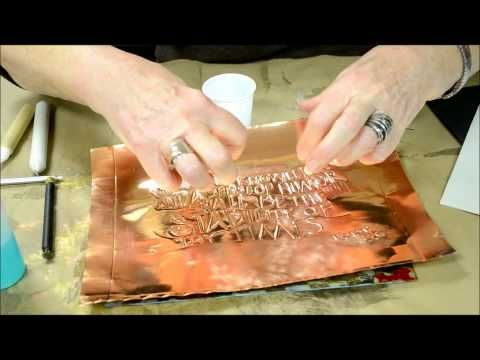Embossing On Copper Metal Sheets Video Tutorial Love The Look Tensecondstudio Embossing Metal Metal Embossing Copper Crafts Copper Diy