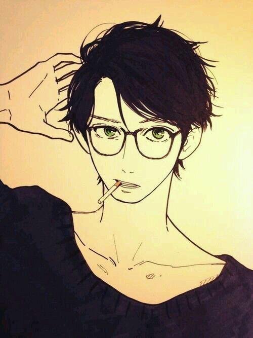 Anime Characters Smoking : Manga boy with glasses smoking ayay not healthy he