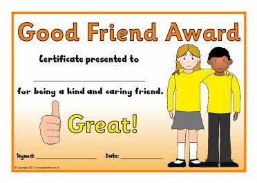 Good Friend Award Certificates Sb7845 Award Certificates Preschool Writing Best Friends