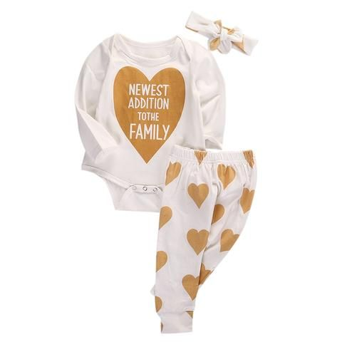 5708f2d04102 0-18M Newborn Infant Baby Boys Girls Clothes Long Sleeve Gold Heart ...