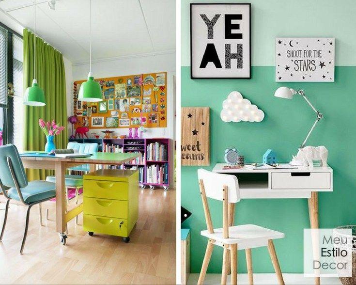 """Verde claro na decoração: Da mesma maneira que falamos que uma pessoa ainda está """"verde"""" para determinada função, significando que é jovem e inexperiente, espaços decorados com tons mais claros e intensos como verde-limão, verde-maçã e menta tem uma pegada jovem, entusiasmada e um pouco ingênua, por isso são perfeitos para ateliês, quartos de estudo e de brinquedo."""