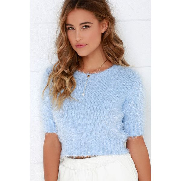 Glamorous Fluff Love Fuzzy Light Blue Crop Top ($49) ❤ liked on Polyvore featuring tops, blue, light blue top, elbow length sleeve tops, fitted crop top, zipper crop top and zip top