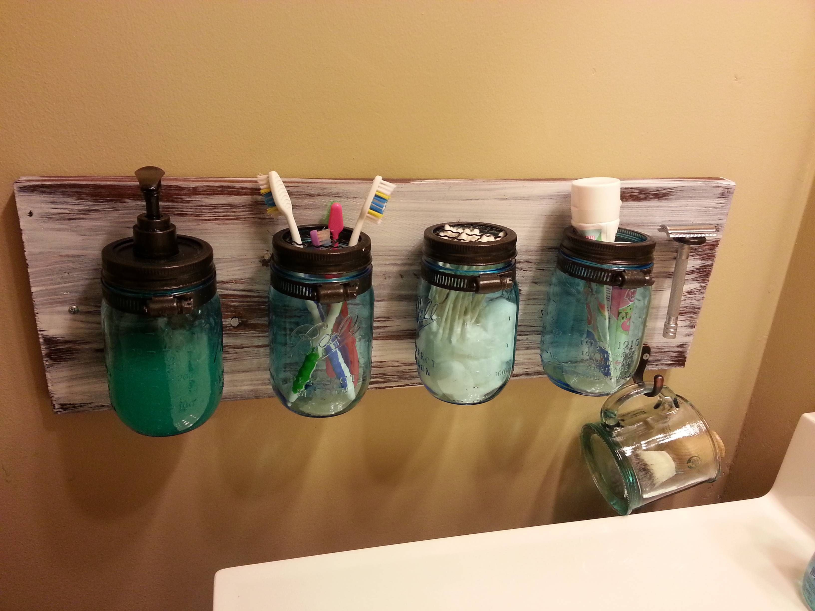 Mason Jar Bathroom Accessories Diy Bathroom Storage Bathroom Pinterest Jars Mason Jar