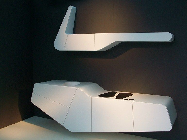 schwebende k che aus solid surface objet mono block by hanex design marco fumagalli k chen. Black Bedroom Furniture Sets. Home Design Ideas