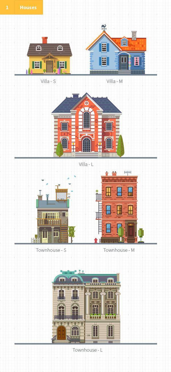 Construct your city flat vector kit on behance also building design rh pinterest