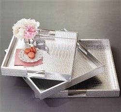Two's Company Large Silver Gallery Tray