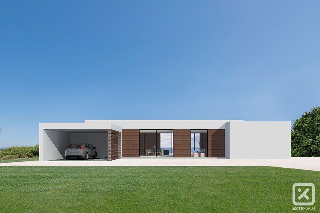 Extrarch 1 render esterno villa moderna contemporanea for Casa moderna tetto piatto