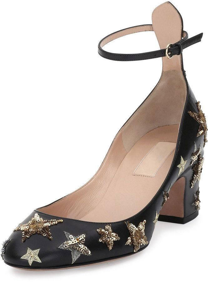 89cfda1a08d Valentino Star-Studded Low-Heel Ankle-Strap Pump