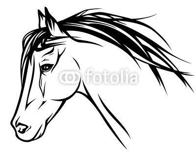 Vinilo Pixerstick Ejecución de la cabeza del caballo - ilustración ...