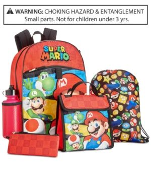 2f3d690e471 Mario Bros. 5-Pc. Super Mario Backpack & Accessories Set, Little Boys (2-7)  & Big Boys (8-20) - Red