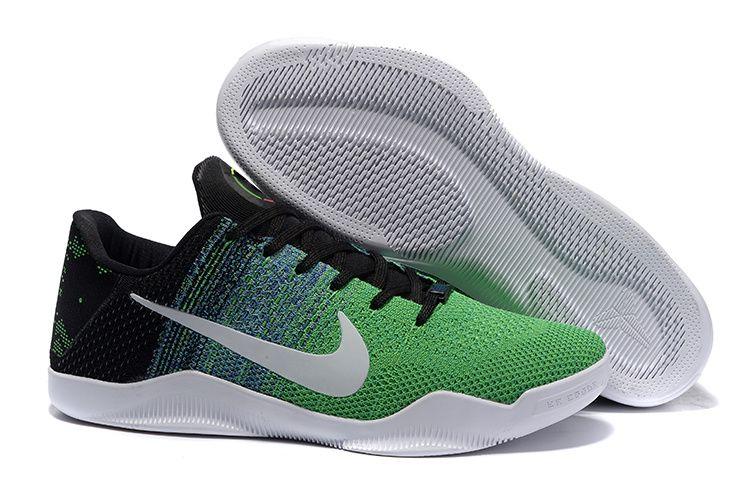 60452e6eb082 Nike Flyknit Kobe 11 Shoes Grey Black Green