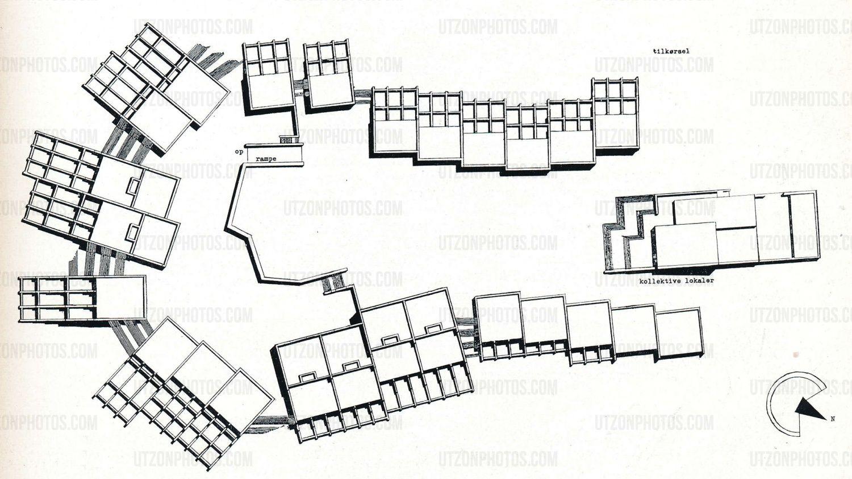 Jørn Utzon: site plan of Birkehøj Houses, Elsinore, 1963